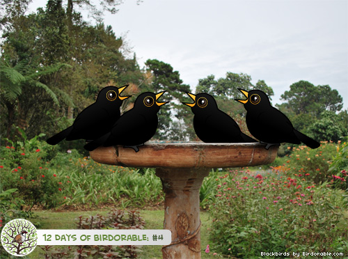 Four Calling Birdorable Blackbirds
