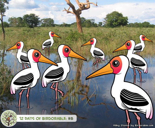 Eight Birdorable Milky Storks