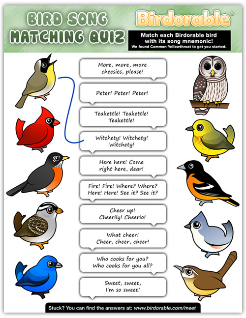 Birdorable Song Matching Quiz