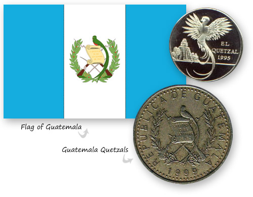 Flag and coins of Guatemala with the Resplendent Quetzal