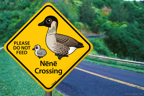 Birdorable Nene Crossing sign on Hawaii