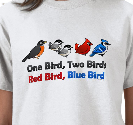 One bird, two birds, red bird, blue bird