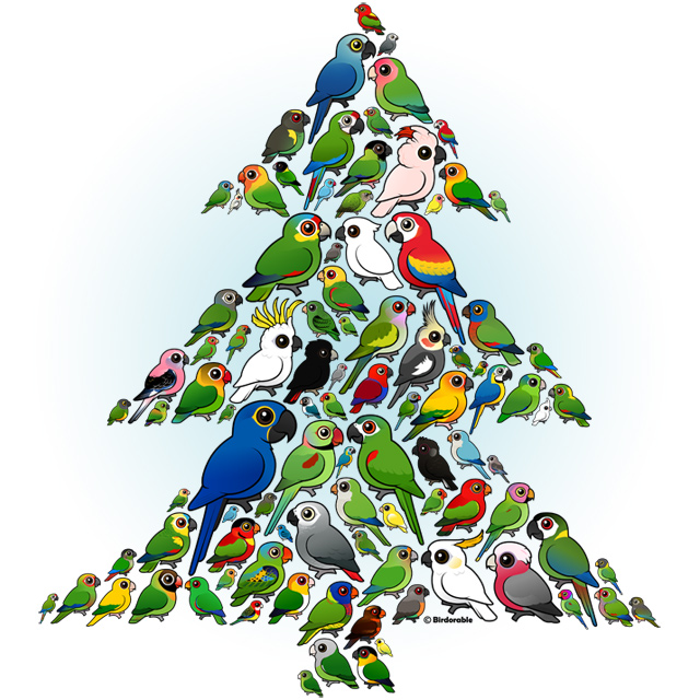 Birdorable Parrots and Parakeets Christmas Tree design