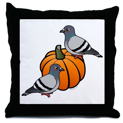 Birdorable Pigeons on a Pumpkin on a pillow