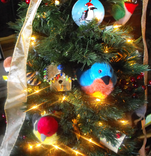 Christmas Tree with Bird Ornaments