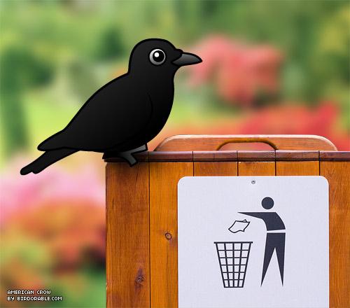 Birdorable American Crow as garbage collector