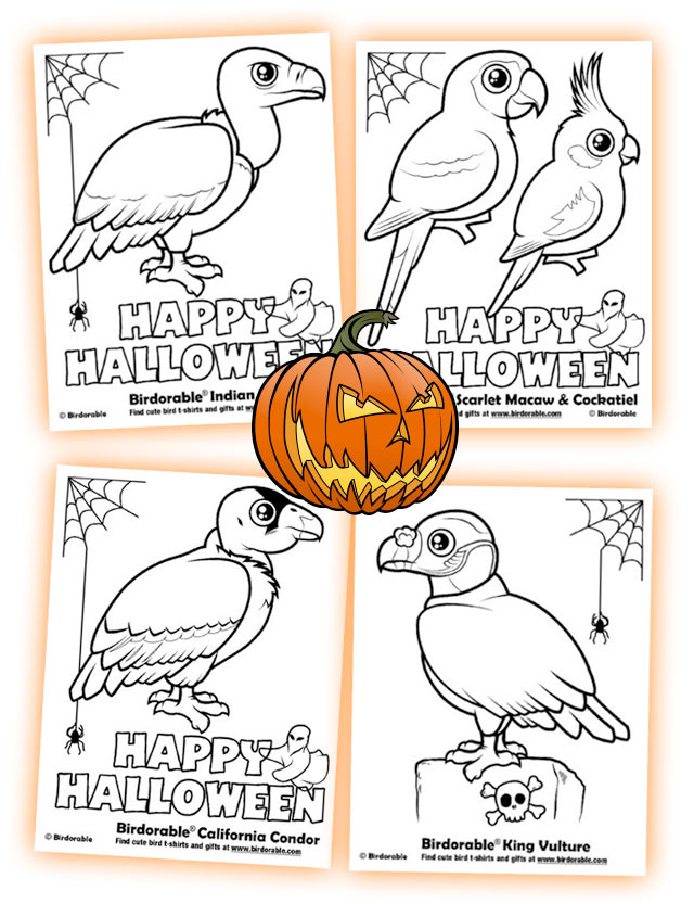 Birdorable Halloween Coloring Pages: Cape Vulture and Rock Pigeon
