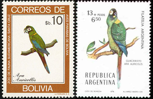 Golden-collared Macaw stamps