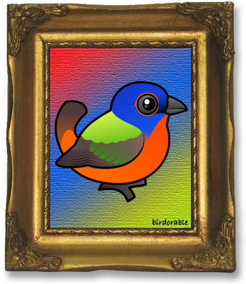 Painting of a Birdorable Painted Bunting