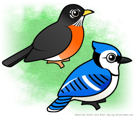 Birdorable American Robin and Blue Jay