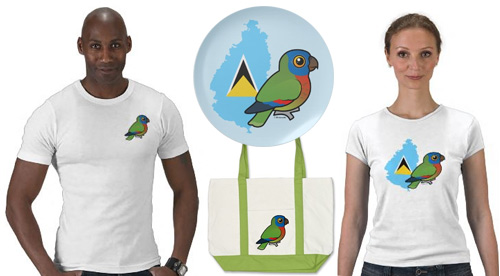 St Lucia Amazon Birdorable t-shirts, plate and bag