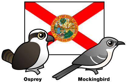 Birdorable Osprey and Mockingbird in front of Florida state flag