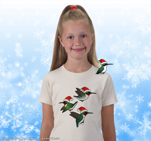 Christmas Ruby Throated Hummingbird T-Shirt