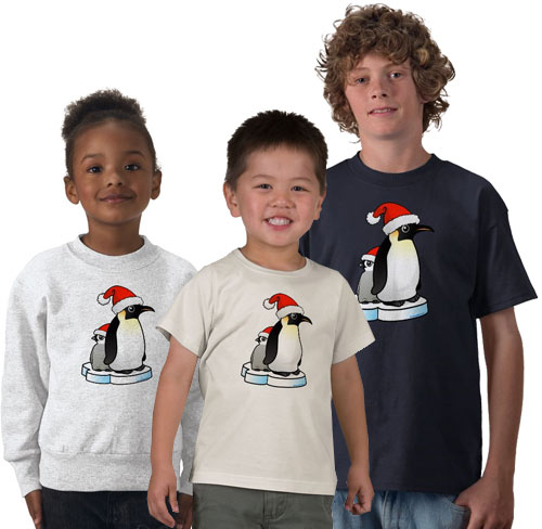 Santa Emperor Penguin with Chick