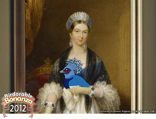 Queen Victoria with Victoria Crowned Pigeon