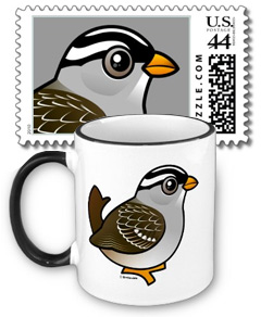 Birdorable White-crowned Sparrow Stamp and Mug