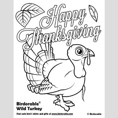 Happy Thanksgiving Wild Turkey Coloring Page sample