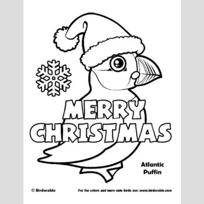 Christmas Atlantic Puffin Coloring Page sample