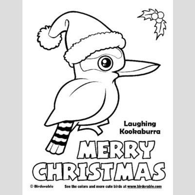Christmas Laughing Kookaburra Coloring Page Sample