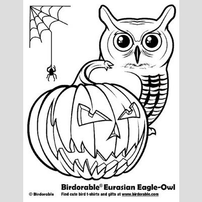 Halloween Eurasian Eagle-Owl Coloring Page sample