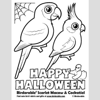 Halloween Scarlet Macaw and Cockatiel Coloring Page sample