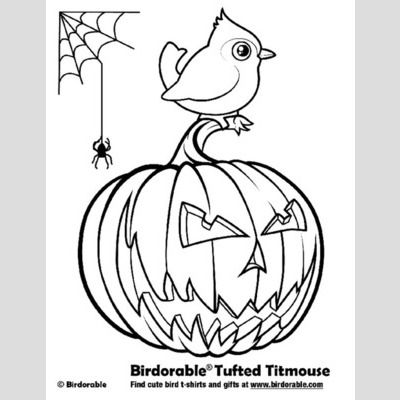 Halloween Tufted Titmouse Coloring Page sample