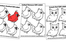 Cute bird holiday gift labels