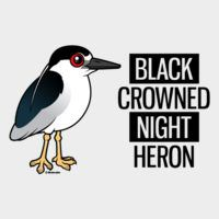 Black-crowned Night Heron with Black & White Text