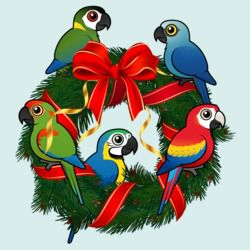Birdorable Macaws Christmas Wreath