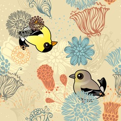 American Goldfinch Grunge Floral