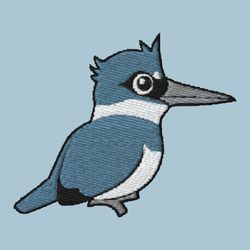 Belted Kingfisher Embroidery