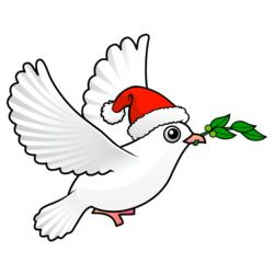 Cute Peace Dove with Santa Hat