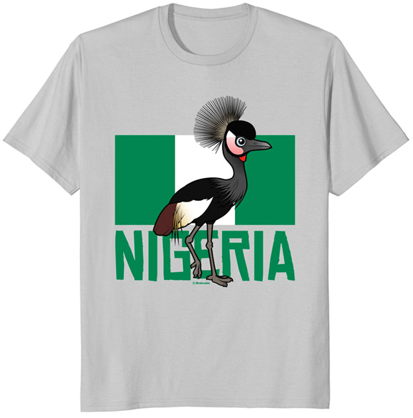 Birdorable Black Crowned-Crane with Nigeria Flag T-Shrit