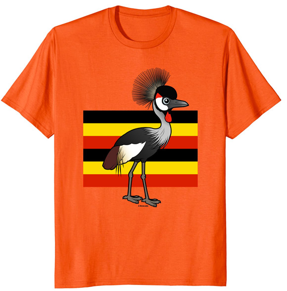 Grey Crowned-Crane of Uganda Cute Cartoon National Bird