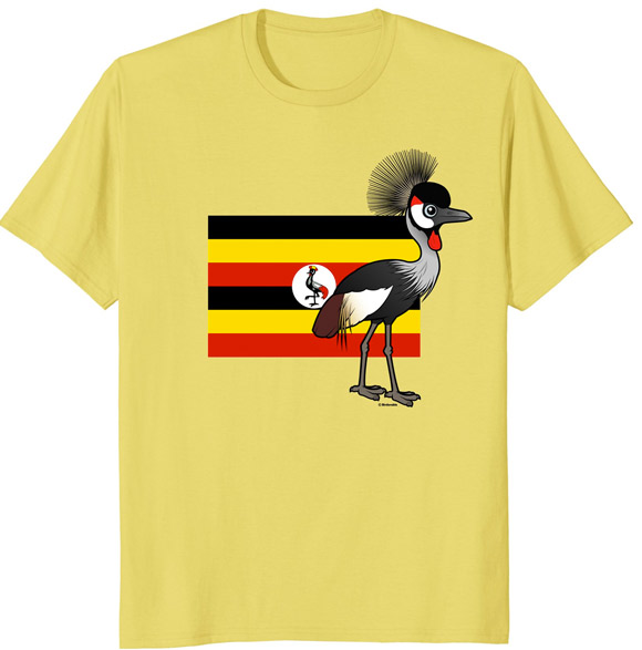 Uganda National Bird Grey Crowned-Crane Cute Cartoon T-Shirt