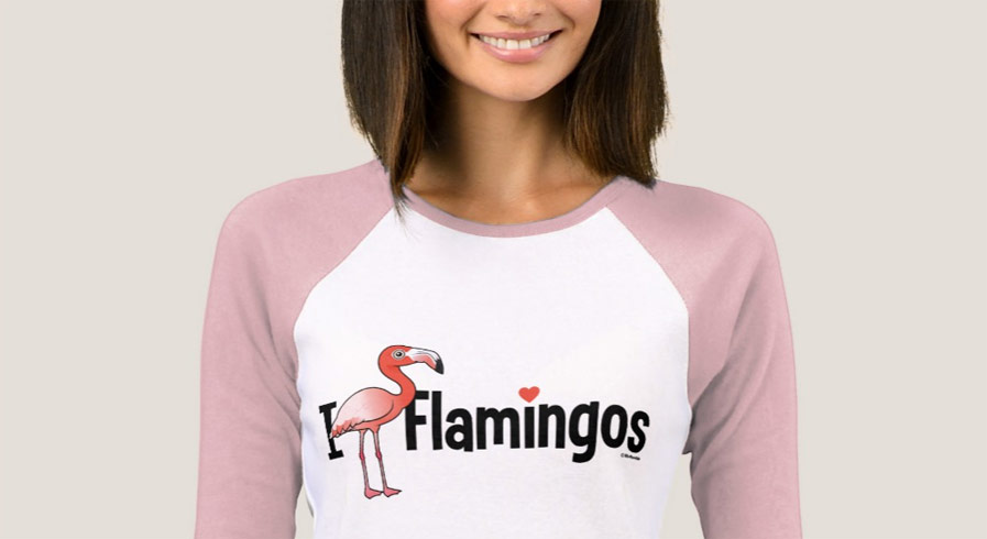 Birdorable I Love Flamingos Ladies T-Shirt