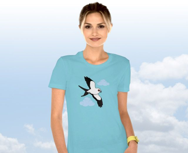 Birdorable T-Shirt with Swallow-tailed Kit in Flight