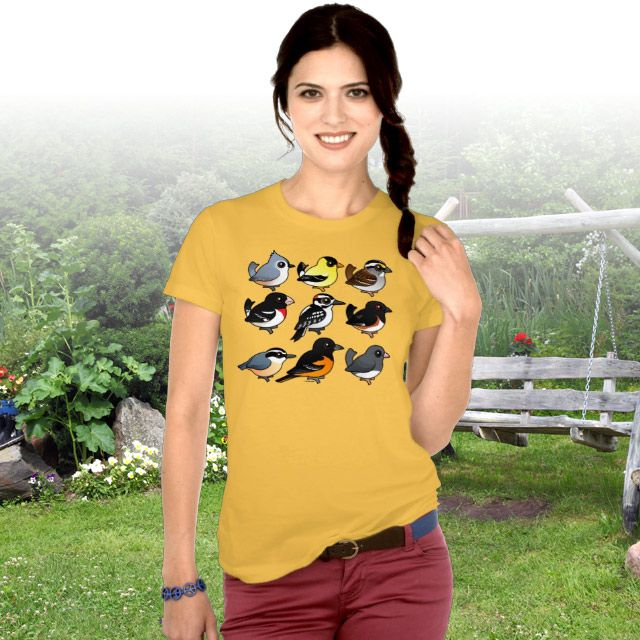 Graphic Tee with 9 Northeast USA Backyard Birds by Birdorable
