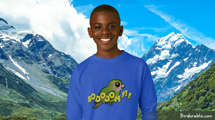 Birdorable Kakapo BOOOOOM! kids basic long sleeve t-shirt