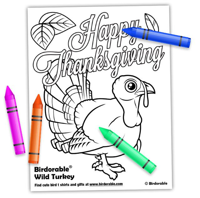 Birdorable Happy Thanksgiving coloring page